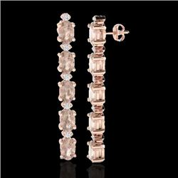 12.47 CTW Morganite & VS/SI Certified Diamond Tennis Earrings 10K Rose Gold - REF-153N8Y - 29484