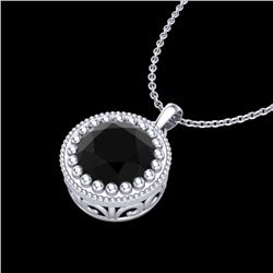 1 CTW Fancy Black Diamond Solitaire Art Deco Stud Necklace 18K White Gold - REF-50K9R - 37485