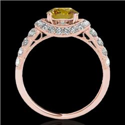 1.75 CTW Certified Si Fancy Intense Yellow Diamond Solitaire Halo Ring 10K Rose Gold - REF-180F2M -