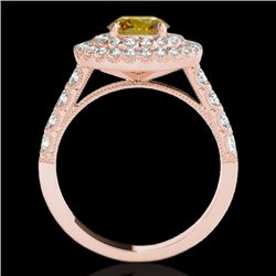 3 CTW Certified Si Fancy Intense Yellow Diamond Solitaire Halo Ring 10K Rose Gold - REF-388R2K - 342