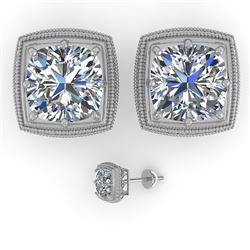 2 CTW VS/SI Cushion Cut Diamond Stud Earrings Deco 18K White Gold - REF-581N3Y - 35988