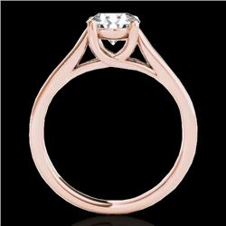 1 CTW H-SI/I Certified Diamond Solitaire Ring 10K Rose Gold - REF-138X2T - 35526
