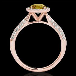1.4 CTW Certified Si Fancy Intense Yellow Diamond Solitaire Halo Ring 10K Rose Gold - REF-170Y4N - 3
