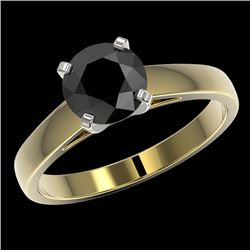 1.50 CTW Fancy Black VS Diamond Solitaire Engagement Ring 10K Yellow Gold - REF-44M2F - 33024