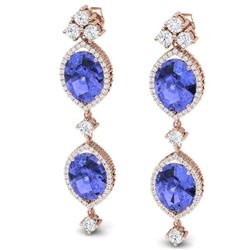 16.21 CTW Royalty Tanzanite & VS Diamond Earrings 18K Rose Gold - REF-381K8R - 38914