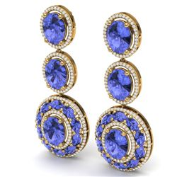 33.72 CTW Royalty Tanzanite & VS Diamond Earrings 18K Yellow Gold - REF-581X8T - 39266
