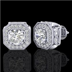 2.75 CTW VS/SI Diamond Solitaire Art Deco Stud Earrings 18K White Gold - REF-472W8H - 37322