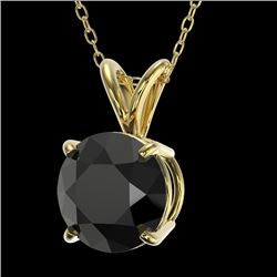 1.50 CTW Fancy Black VS Diamond Solitaire Necklace 10K Yellow Gold - REF-41F3M - 33225
