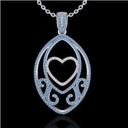 1.75 CTW Blue & White Micro Pave VS/SI Diamond Heart Necklace 18K White Gold - REF-201W5H - 22587