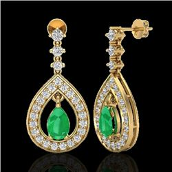 2.25 CTW Emerald & Micro Pave VS/SI Diamond Earrings Designer 14K Yellow Gold - REF-105W5H - 23152