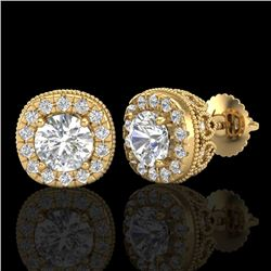 1.69 CTW VS/SI Diamond Solitaire Art Deco Stud Earrings 18K Yellow Gold - REF-263H6W - 37120