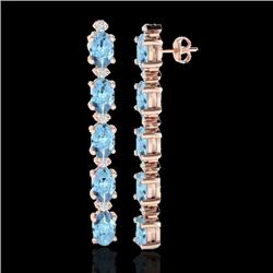 12.47 CTW Aquamarine & VS/SI Certified Diamond Tennis Earrings 10K Rose Gold - REF-126Y5N - 29473