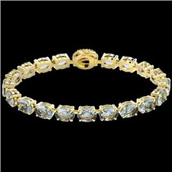 36 CTW Sky Blue Topaz & VS/SI Diamond Tennis Micro Halo Bracelet 14K Yellow Gold - REF-115W8H - 2344