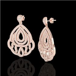 3 CTW Micro Pave VS/SI Diamond Certified Earrings Designer 14K Rose Gold - REF-256K9R - 21146