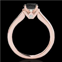 1.5 CTW Certified Vs Black Diamond Solitaire Ring 10K Rose Gold - REF-70R2K - 34929