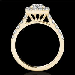 2 CTW H-SI/I Certified Diamond Solitaire Halo Ring 10K Yellow Gold - REF-210Y9N - 34134