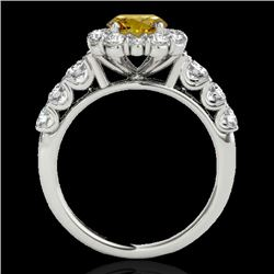 2.25 CTW Certified Si Fancy Intense Yellow Diamond Solitaire Halo Ring 10K White Gold - REF-207W6H -