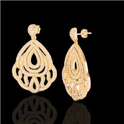 3 CTW Micro Pave VS/SI Diamond Certified Earrings Designer 18K Yellow Gold - REF-280X2T - 21148