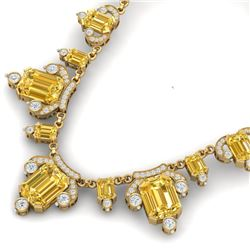 71.48 CTW Royalty Canary Citrine & VS Diamond Necklace 18K Yellow Gold - REF-963X6T - 38759