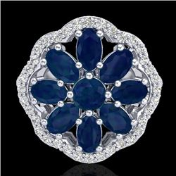 4 CTW Sapphire & VS/SI Diamond Cluster Designer Halo Ring 10K White Gold - REF-60K9R - 20786