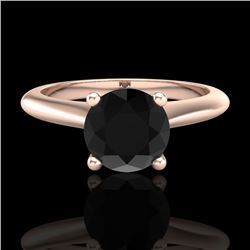 1.08 CTW Fancy Black Diamond Solitaire Engagement Art Deco Ring 18K Rose Gold - REF-76F4M - 38200