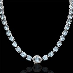 90 CTW Sky Blue Topaz & VS/SI Diamond Tennis Micro Halo Necklace 14K White Gold - REF-281T8X - 23480
