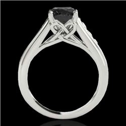 1.5 CTW Certified Vs Black Diamond Solitaire Ring 10K White Gold - REF-72H2W - 34901