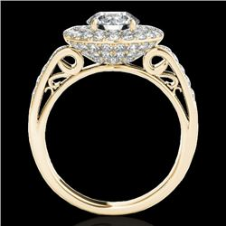 2.25 CTW H-SI/I Certified Diamond Solitaire Halo Ring 10K Yellow Gold - REF-218W2H - 34204