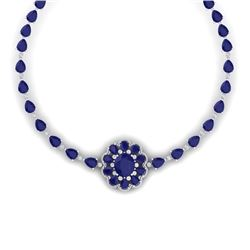 78.98 CTW Royalty Sapphire & VS Diamond Necklace 18K White Gold - REF-690X9T - 39174