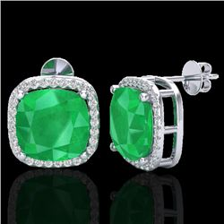 12 CTW Emerald & Micro Pave Halo VS/SI Diamond Earrings Solitaire 18K White Gold - REF-158X2T - 2306
