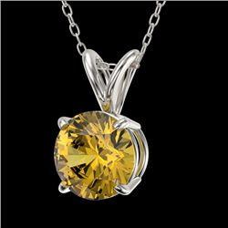 1.03 CTW Certified Intense Yellow SI Diamond Solitaire Necklace 10K White Gold - REF-161Y8N - 36769
