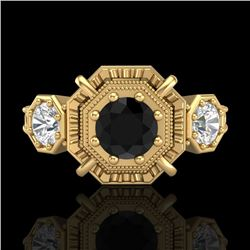 1.01 CTW Fancy Black Diamond Solitaire Art Deco 3 Stone Ring 18K Yellow Gold - REF-96Y4N - 37466