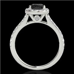 1.7 CTW Certified Vs Black Diamond Solitaire Halo Ring 10K White Gold - REF-75X3T - 33592