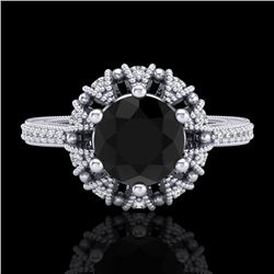 1.65 CTW Fancy Black Diamond Engagement Art Deco Micro Pave Ring 18K White Gold - REF-132Y8N - 37723
