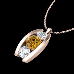 1.07 CTW Intense Fancy Yellow Diamond Art Deco Stud Necklace 18K Rose Gold - REF-136H4W - 37778