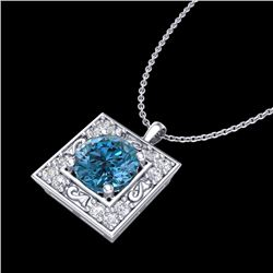 1.02 CTW Fancy Intense Blue Diamond Solitaire Art Deco Necklace 18K White Gold - REF-130M9F - 38167