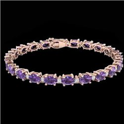 19.7 CTW Amethyst & VS/SI Certified Diamond Eternity Bracelet 10K Rose Gold - REF-104X2T - 29358
