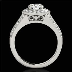 2.17 CTW H-SI/I Certified Diamond Solitaire Halo Ring 10K White Gold - REF-371F6M - 33976