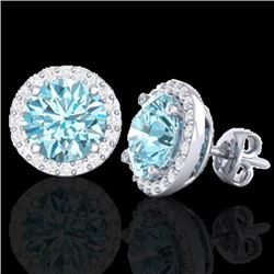 4 CTW Sky Blue Topaz & Halo VS/SI Diamond Micro Earrings Solitaire 18K White Gold - REF-65H8W - 2148