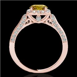 1.7 CTW Certified Si Fancy Intense Yellow Diamond Solitaire Halo Ring 10K Rose Gold - REF-178Y2N - 3