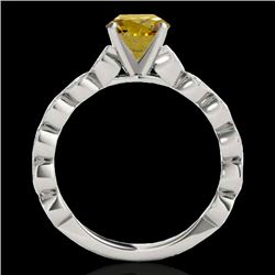 1.5 CTW Certified Si Fancy Intense Yellow Diamond Solitaire Ring 10K White Gold - REF-163H6W - 34887