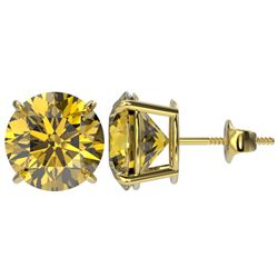 5 CTW Certified Intense Yellow SI Diamond Solitaire Stud Earrings 10K Yellow Gold - REF-1390H5W - 33