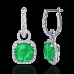 6 CTW Emerald & Micro Pave VS/SI Diamond Certified Earrings 18K White Gold - REF-98F8M - 22961