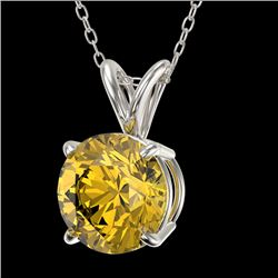 1.53 CTW Certified Intense Yellow SI Diamond Solitaire Necklace 10K White Gold - REF-259R5K - 36806