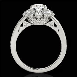 2.16 CTW H-SI/I Certified Diamond Solitaire Halo Ring 10K White Gold - REF-221X8T - 33985