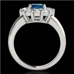 2.09 CTW SI Certified Fancy Blue Diamond Solitaire Halo Ring 10K White Gold - REF-209F3M - 34428