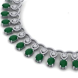 56.05 CTW Royalty Emerald & VS Diamond Necklace 18K White Gold - REF-1145H5W - 39060