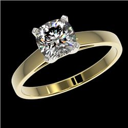 1 CTW Certified VS/SI Quality Cushion Cut Diamond Solitaire Ring 10K Yellow Gold - REF-270F3M - 3299