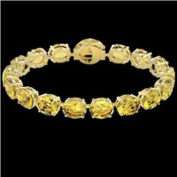 78 CTW Citrine & Micro Pave VS/SI Diamond Halo Bracelet 14K Yellow Gold - REF-212K8R - 22256
