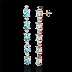 6 CTW Skt Blue Topaz & VS/SI Diamond Certified Tennis Earrings 10K Rose Gold - REF-38N2Y - 21514